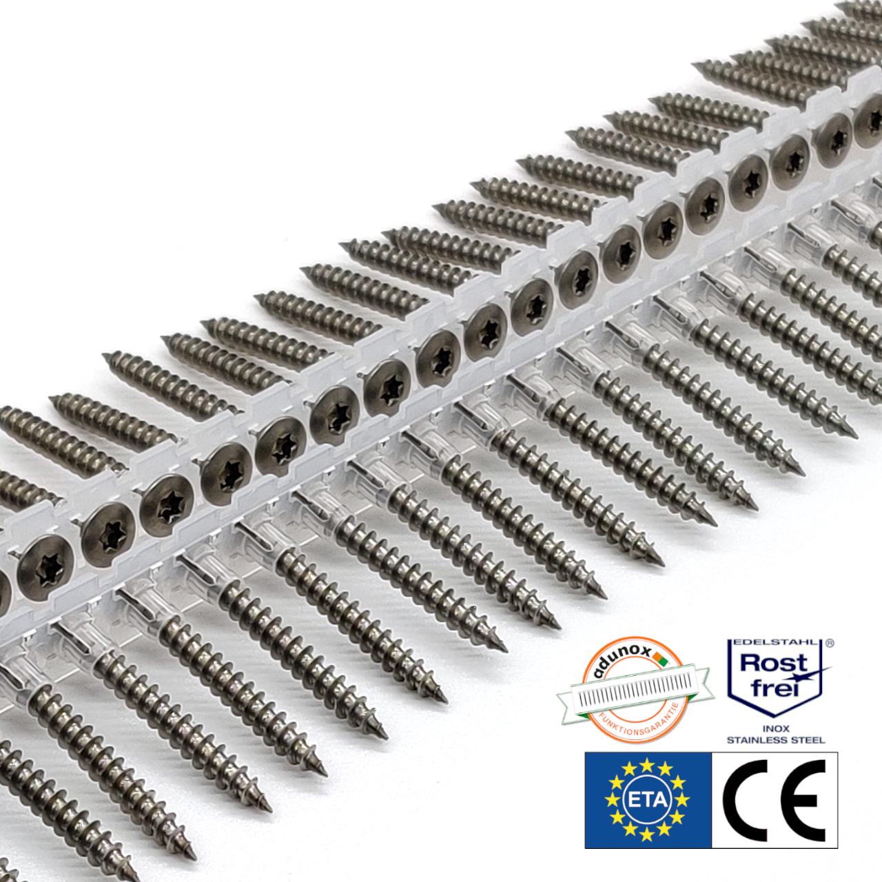 Magazinierte Holzschrauben | rostfrei A2 | Linsensenkkopf | 4,5x40 | 1.000 Stk