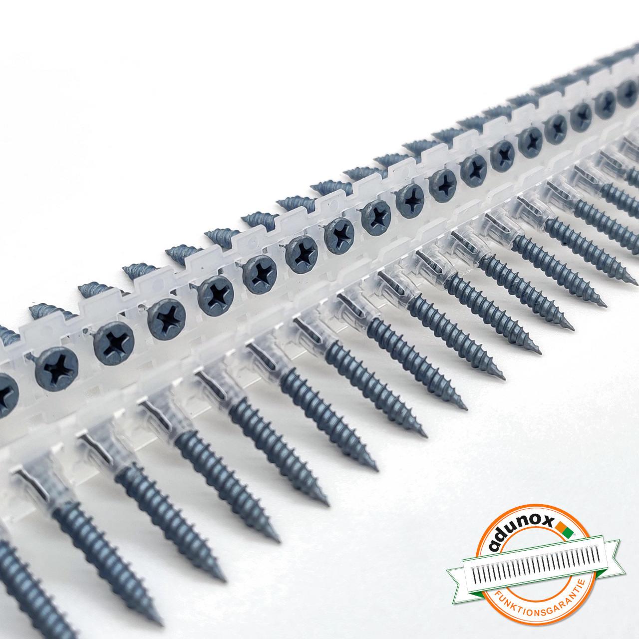 Magazinierte BLUEfast500® Faserplattenschrauben | Hi-Lo-Gewinde | 3,9x45 | 1.000 Stk