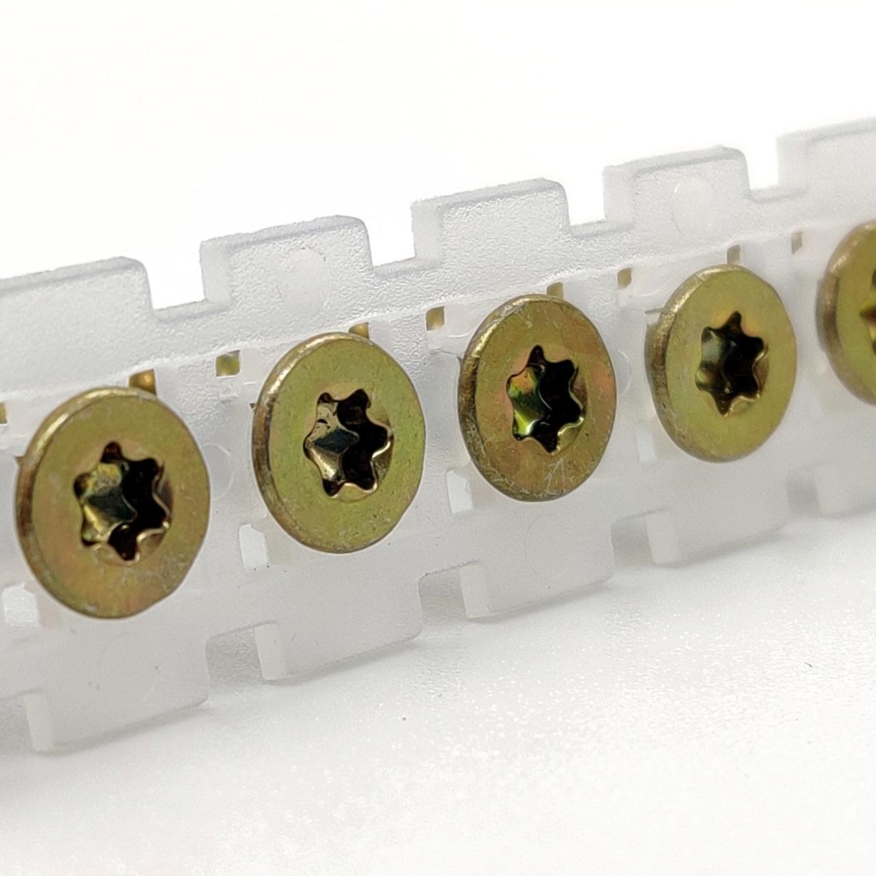 Magazinierte Spanplattenschrauben | gelb verzinkt | TX20 | 4,0x45 | 1.000 Stk